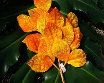 Vintage silk velvet leaves for millinery or floristry in Autumn Fall Yellow Orange Colours