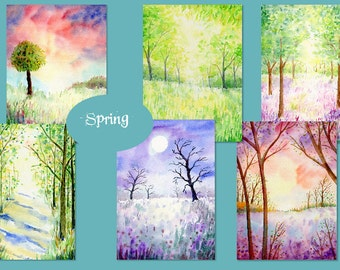 "Hand painted watercolor nature background ""Spring"" digital background for instant download, Spring  woodland background"
