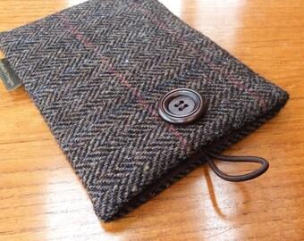 Sleeve for Kindle paperwhite in HARRIS TWEED, kindle voyage, Fire 6 HD case, Kobo, Nook cover case, nut brown herringbone