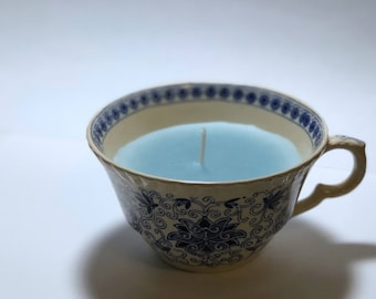 Antique Mason's Blue Bow Bells Ironstone China Teacup Candle