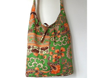 Upcycled Handmade Hobo Bag/ Eco Friendly Bag Brown, Orange, Green and Cream Batik Print
