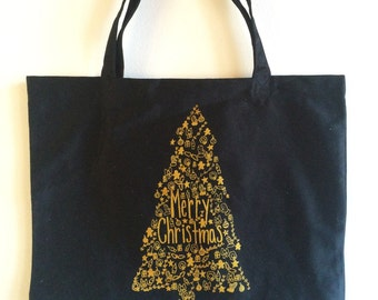 Christmas Tree Tote Bag, Screen Printed Organic Cotton Reusable Bag