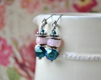 Blue & Pink Earrings with Lampwork Beads, Czech Glass and Silver Leverbacks