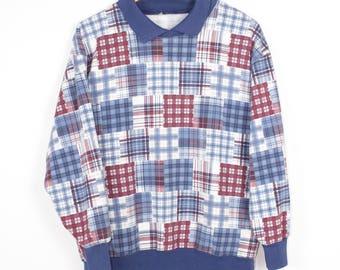 vintage patchwork plaid polo shirt