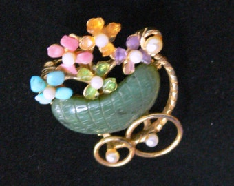 jade and real pearl baby stoller brooch signed