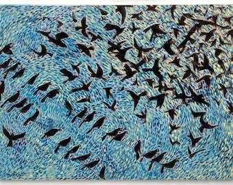 "Crow Large ORIGINAL Painting 36"" X 24"" Abstract Modern Art Crow Black Bird Raven Elizabeth Mukerji Wolf Run Studio Huge Van Gogh"