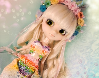 OOAK - Rainbow Mermaid Outfit for Pullip T4 and Obitsu SBH - S