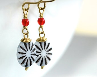 Black, White, and Red Earrings - 'Act of Desperation'