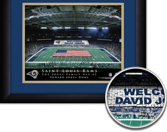 "Saint Louis Rams NFL Football Personalized Card Stunt with American Flag 15""x18"" Framed Art Print  Free Shipping"