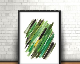 Yellow green abstract art, Brother art gift, Small wall painting, Contemporary colorful wall art, Greening sideways