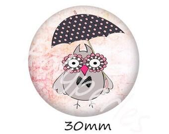 1 cabochon 30mm glass owls dots umbrella stand