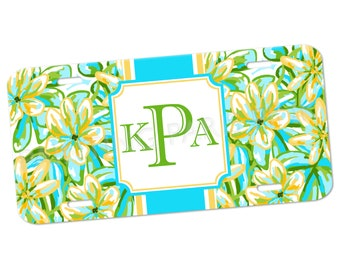 Monogram License Plate | Summer Floral | Aluminum | Island Collection | FREE SHIPPING