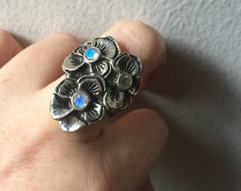 Faceted Rainbow Moonstones and Sterling Silver- The Pansy Viola Ring