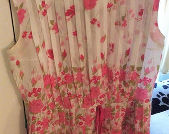 Pink floral garden party fit and flare pinup full skirt dress