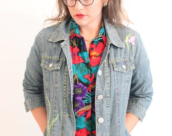 1990 Embroidered Floral Denim Mom Oversized Jacket with crystals