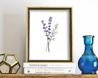 Lavender Print, printable wall art, Floral Print, Watercolor Printable, Botanical Print, Minimalist Flower, Downloadable Flower Art Print