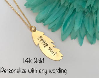Personalized GOLD 14k filled feather design necklace, personalized necklace , hand stamped necklace, gold necklace gift, wedding, christmas,