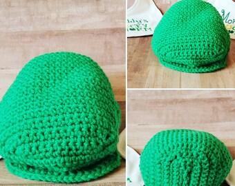 Crochet Irish Baby Scally Cap - St Patricks Day Hat -  Boston Scally Cap - Donegal Cap Irish Baby Gift Driver's Cap - Golf Cap - scaly cap I