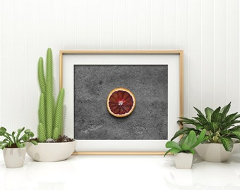 blood orange // food photography print // kitchen decor // kitchen wall art  // dining room wall art // rustic wall art // citrus fruit