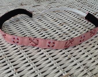 Pink Anchor Headband - Skinny Nautical Headband