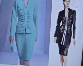 Vogue 2790 Vogue Couture Sewing Pattern Misses' Ruched Front Jacket and Straight Skirt UNCUT Factory Folds Sizes 6-8-10 Bust 30.5-32.5""