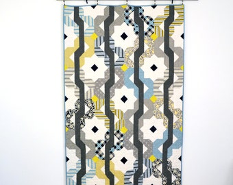 Geometric Quilt, Grey Lap Quilt, Modern Quilt, Grey Modern Quilt, Yellow Quilt, Wedding Quilt
