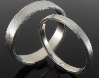 Flat Profile Sterling Silver Band Ring Set, Silver Wedding Ring Set, Silver Wedding Band Set, 4 x 1 mm and 2 x 1 mm, Heavily Brushed Finish