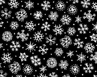 Four Seasons - Per Yard - In the beginning Fabrics by Jason Yenter - Snowflakes on black