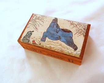 Yoga Art Box. Elephant Art Box. Pyrography Lettered Box.