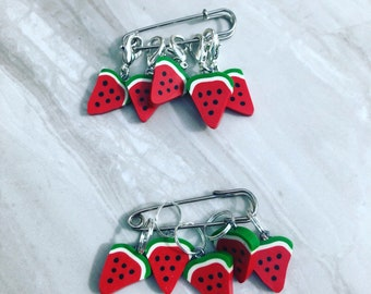 Watermelon Clay Bead Stitch Markers, stitch markers, knitting supplies, progress markers, progress keepers, craft supplies, crochet markers