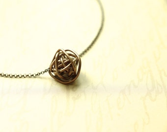 Antiqued Copper Wire Ball Pendant - made to order