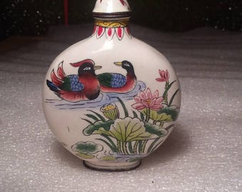 Vintage Hand Painted Cloisonne Nature Scenes Snuff Bottle