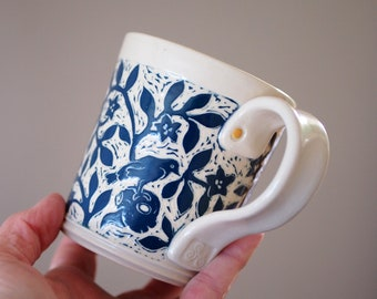 Mug, Teal Blue and White, Handmade and Hand Carved with Flowers, Animal Skulls, Birds and and an Owl