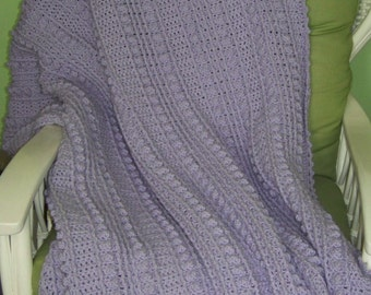 Large Adult Sized Lilac (light purple) Blanket, crochet