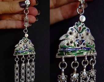Ancient Hair Ornament, Silver Antique, Enamel Jewelry, Himachal Pradesh, Hair Jewelry, Tribal,  Ethnic Collectible, Bellydance