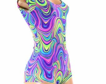 Neon Glow Worm Print UV Glow Cap Sleeve Romper Bodysuit Onsie (No Hood) Rave Festival Clubwear 151530