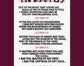 Invictus poem, 11x14 invictus print, I am the master of my fate, inspirational print, wall art