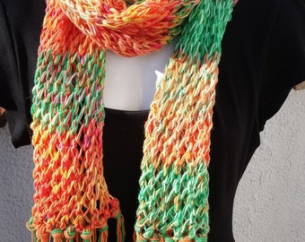 Hand knit lacy summer scarf - Multi colour hippy style lacy scarf -  Long Boho rainbow scarf with fringing in merino wool