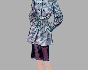 1945 Hip length Coat or Topper Sewing pattern Simplicity 1278 Front slash pockets Round Neckline Cuffed sleeves Size 14 Bust 32 Vintage