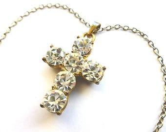 DAZZLING CRYSTAL Twotone Vintage Cross, Six Faux Diamond Cross & Neck Chain, Rhinestone Cross Necklace, Cubic Zirconias Cross with Chain