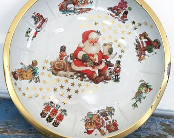 Vintage Santa Tin Bowl Round West Germany Christmas Serving Tray