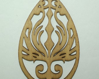Wooden Engraved 4 Pendants included 45x58 mm