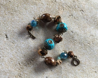 Statement Bracelet, Southwest Bracelet, Chain Link Bracelet, Beaded Bracelet, Womens Jewelry, Beaded Jewelry