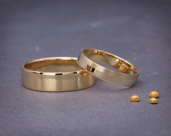 14K Gold Wedding Bands Set | Handmade polished/matte wedding Rings  His and Hers Wedding Bands Set 3mm, 4mm, 5mm, 6mm