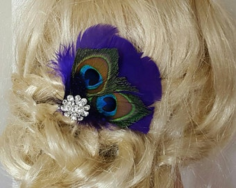 Wedding Peacock bridal fascinator, wedding hair clip, womens girls bridesmaids brides mother of groom, feather fascinator, bridal hair comb