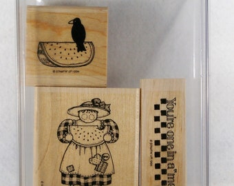 Stampin Up 1994 One In A Melon 3 Piece Set Checkered Watermelon Crow Girl