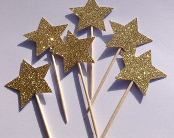 12 x Gold Star Cupcake Toppers, Gold Glitter Cake Toppers, Birthday Cake Toppers, Wedding/Anniversary Cake Toppers