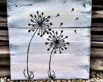 Dandelion Decor Black and White Sign Pallet Dandelion Sign