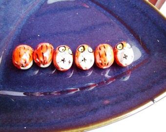 Ceramic Owls in Orangish Red