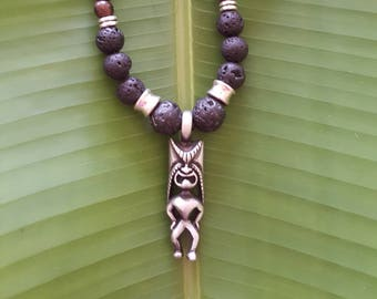 Tiki,Lava and Tiger Ebony Necklace